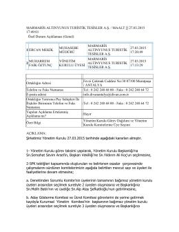 Özel Durum Açıklama Formu (27.03.2015)