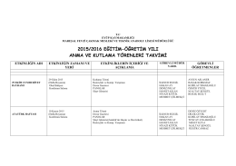 2015/2016 eğitim-öğretim yılı anma ve kutlama törenleri takvimi