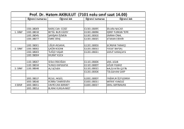 Prof. Dr. Hatem AKBULUT (7101 nolu sınıf saat 14.00)