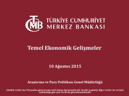 TC. Merkez Bankası`nca hazırlanmış Türkiye Ekonomisi Temel