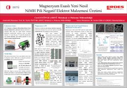 Mg Esaslı Yeni Nesil NiMH Pil Üretimi