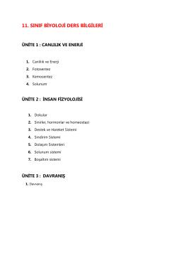 11. sınıf biyoloji ders bilgileri