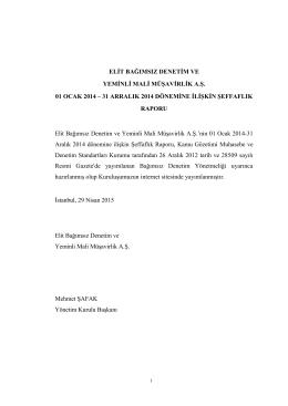 Elit Bağımsız Denetim 31 Aralık 2014 KGK Şeffaflık Raporu