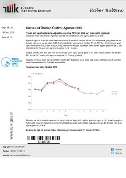 Süt ve Süt Ürünleri Üretimi-(Ağustos 2015-16.10.2015)