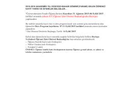 *Üniversitemizin Farabi Öğrencilerinin Kayıtları 31 Ağustos 2015