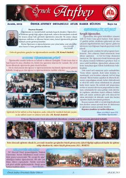 Aralık 2015 Bülteni - ANKARA / ALTINDAĞ