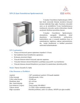 XPS (X-Işını Fotoelektron Spektrometresi) - Ege