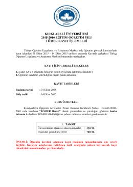 kırklareli üniversitesi 2015-2016 eğitim-öğretim yılı tömer kayıt