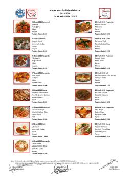 2015-2016 ocak ayı yemek listesi