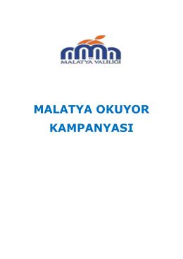 MALATYA OKUYOR KAMPANYASI - Malatya Milli Eğitim Müdürlüğü