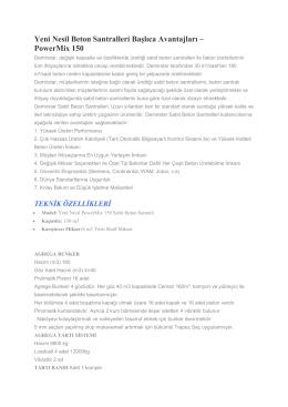 Yeni Nesil PowerMix 150 Beton Santrali