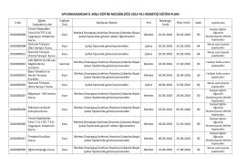 2016 hizmetiçi eğitim planı