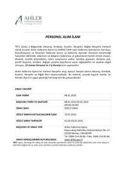 personel alım ilanı - Ahiler Kalkınma Ajansı