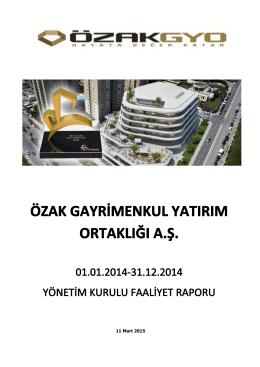 ÖZAK GYO Faaliyet Raporu 31122014