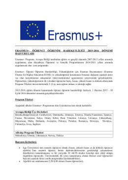 ERASMUS+ ÖĞRENCİ ÖĞRENİM