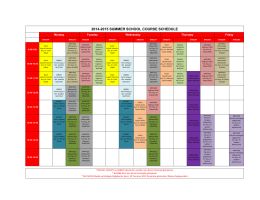 2014-2015 SUMMER SCHOOL COURSE SCHEDULE