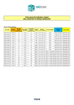 A510 Güç, Reaktör ve Direnç Değerleri