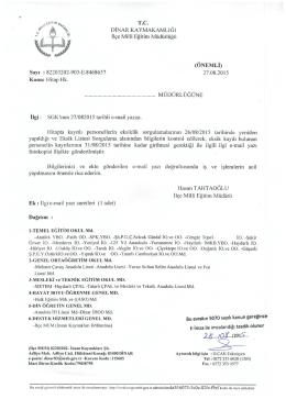 Hitap Takip Programı Bilgi Girişi konulu 27.08.2015 tarih ve