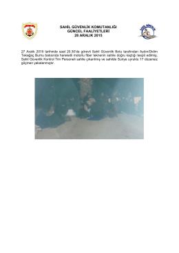 27 Aralık 2015 - Sahil Güvenlik Komutanlığı