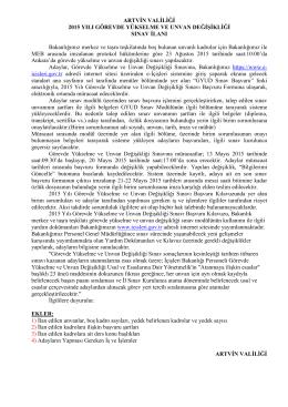 artvin valiliği 2015 yılı görevde yükselme ve unvan değişikliği sınav