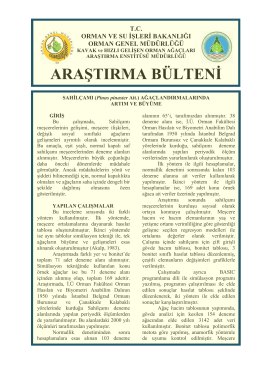 (Pinus pinaster Ait.) AĞAÇLANDIRMALARINDA ARTIM ve BÜYÜME