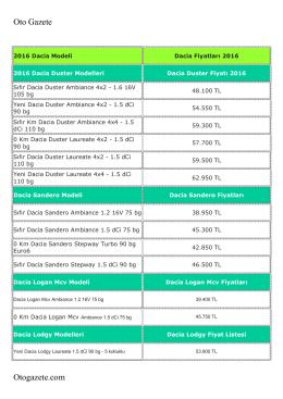 Dacia 2016 Fiyatlarını PDF