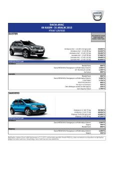 Dacia Fiyat Listesi