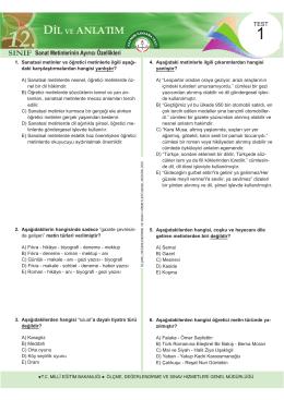 Dil ve Anlatım Testleri 12 Test