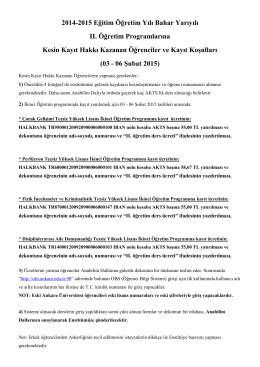 2014-2015 Eğitim Öğretim Yılı Bahar Yarıyılı II. Öğretim