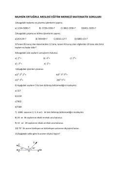 Matematik ve Meslek Matematiği Dersi Soruları