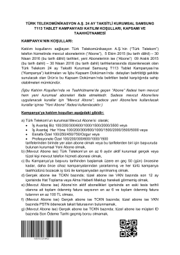 Kampanya Taahhütnamesi - Türk Telekom Kurumsal