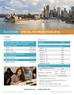 ELS/SYDNEY SPECIAL FEE PROMOTION 2016