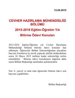 2015-2016 Egitim-Ögretim Yılı Bitirme Tezi Konuları