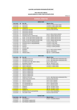 2015-2016 Güz Yarıyılı Dersler ve Sorumlu Öğretim Üyeleri