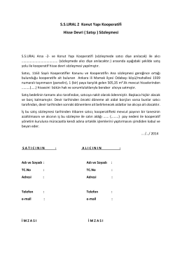 SSURAL 2 Konut Yapı Kooperatifi Hisse Devri ( Satışı ) Sözleşmesi
