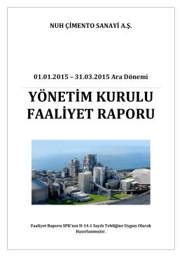 31.03.2015 Faaliyet Raporu