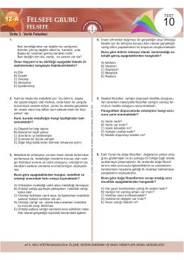 Felsefe Testleri Bölüm 2 9 Test