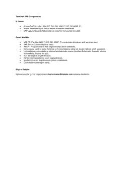 Tecrübeli SAP Danışmanları İş Tanımı • Aranan SAP