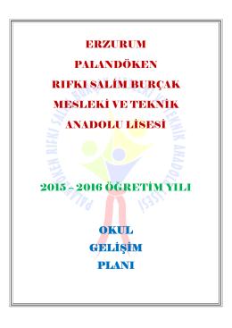 Okul Gelişim Planı - Rıfkı Salim Burçak Mesleki ve Teknik Anadolu