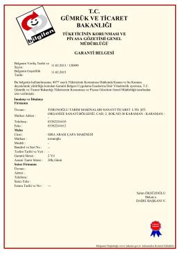 Sıra Arası Çapa Makinası Garanti Belgesi 341KB