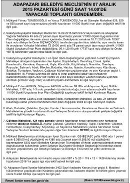 ADAPAZARI BELEDİYE MECLİSİ`NİN 7 ARALIK 2015... 3 Aralık
