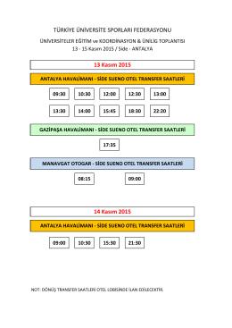 13 Kasım 2015 - Türkiye Üniversite Sporları Federasyonu