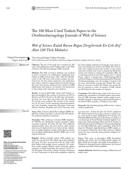 The 100 Most Cited Turkish Papers in the Otorhinolaryngology