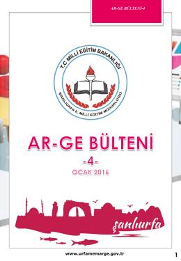Ar-Ge Bülten 2016 Ocak - Şanlıurfa Milli Eğitim Müdürlüğü