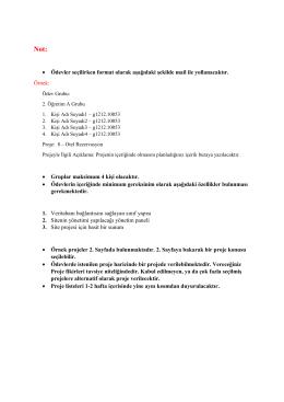 • Ödevler seçilirken format olarak aşağıdaki şekilde mail ile