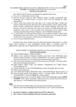 EK-2 Spor Masörü Eğitim Kurslarına katılacaklarda aşağıdaki şartlar