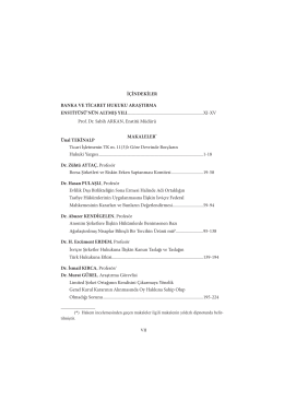 60. yil armagani.icindekiler - Banka ve Ticaret Hukuku Araştırma