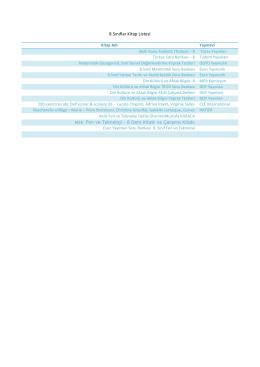 8.Sınıflar Kitap Listesi