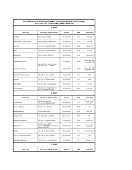 Sınav Programları - Makine Mühendisliği Bölümü