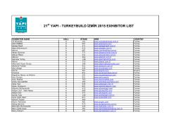 21 YAPI - TURKEYBUILD İZMİR 2015 EXHIBITOR LIST